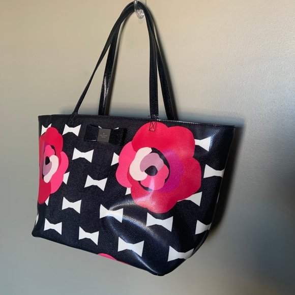Kate Spade bowtie and flowers large tote bag